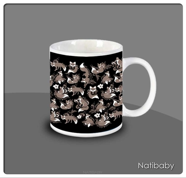 Becher NatiMug Foxes Nero
